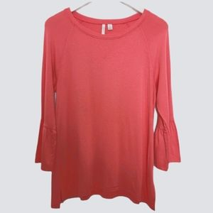 Bell sleeve t shirt tunic coral color medium
